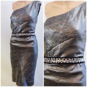 Allen Schwartz Silver Blk 1 shoulder midi dress 16